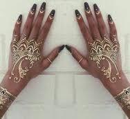 white Henna hand designs