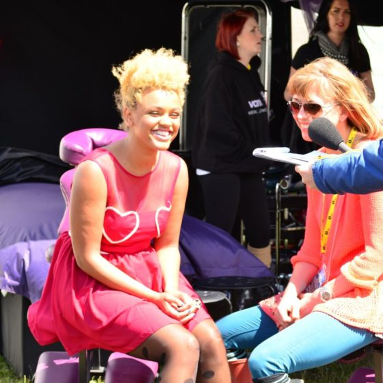 64-radio-one-big-weekend-2012-gemma-keirney-and-sara-cox-filming-for-bbc3