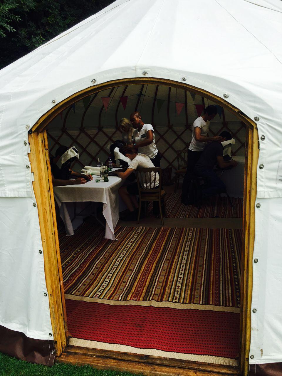 corporate fun days yurt salon setup