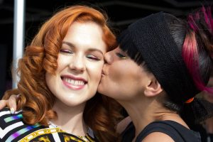 Radio One Big weekend 2014 Lily Allen kissing Katy B in salon VIP Hospitality