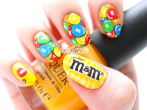 Halloween candy nail art