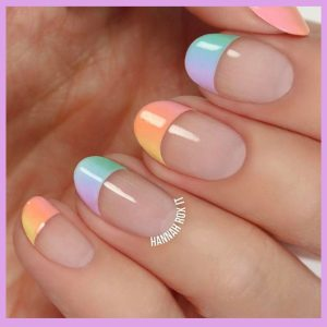 Easter Nails Pastel Gradient French Tip
