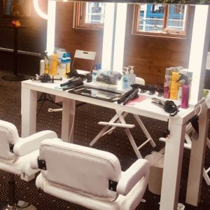 white indoor mobile salon