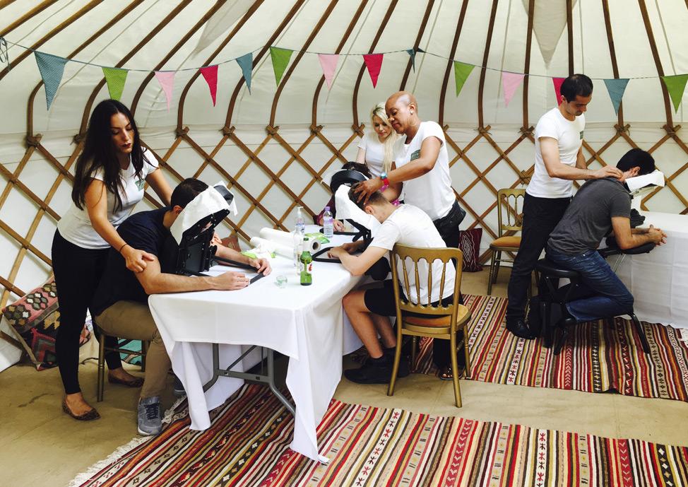 event types yurt salon setup massage relaxation