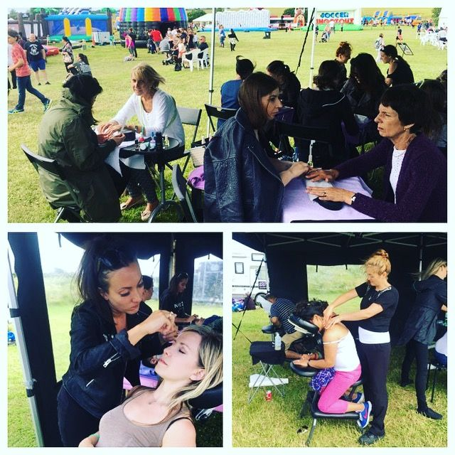 corporate fun days outdoor salon marquee set up