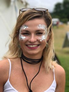 Glasto glitter face art
