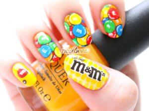 Halloween candy nail art